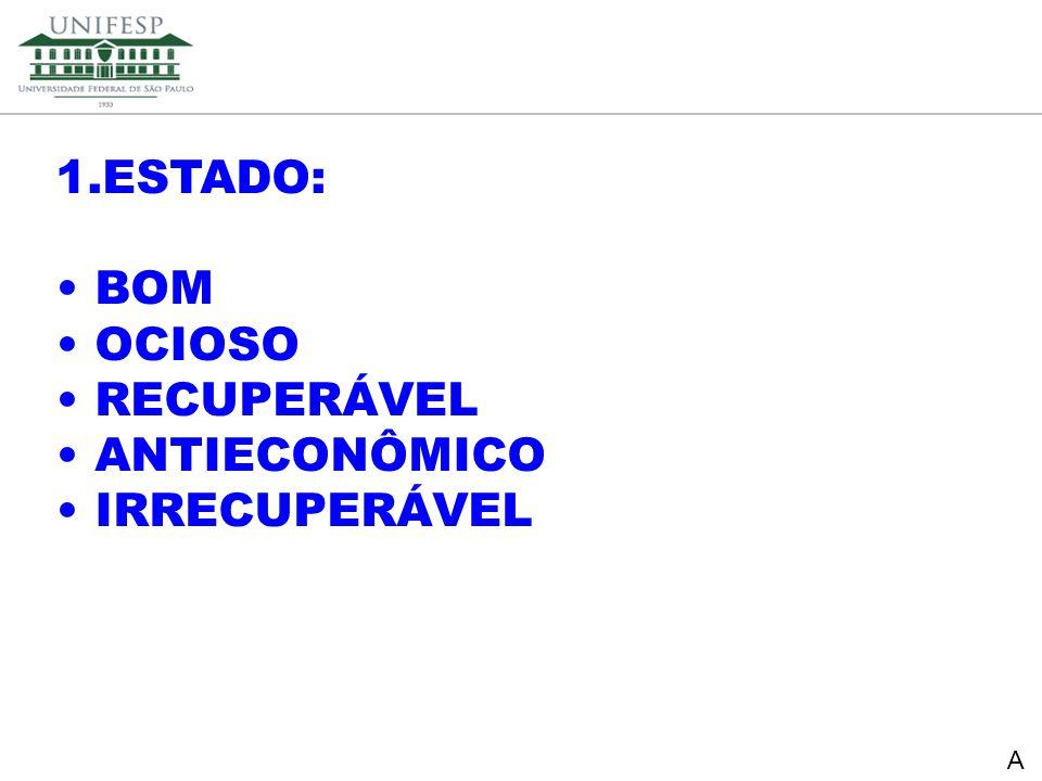 Reitoria Secretaria de Planejamento 1.ESTADO: BOM OCIOSO RECUPERÁVEL ANTIECONÔMICO IRRECUPERÁVEL A