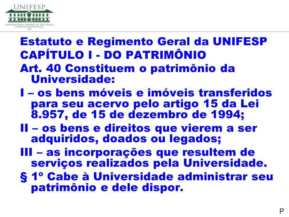 Reitoria Secretaria de Planejamento Estatuto e Regimento Geral da UNIFESP CAPÍTULO I - DO PATRIMÔNIO Art. 40 Constituem o patrimônio da Universidade: