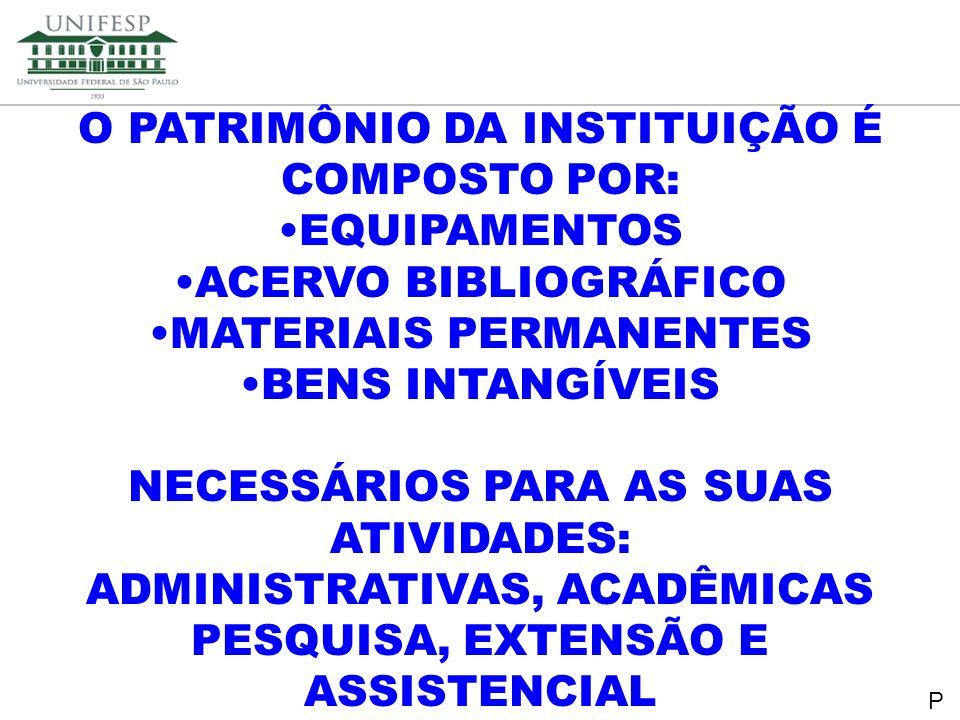 Reitoria Secretaria de Planejamento O PATRIMÔNIO DA INSTITUIÇÃO É COMPOSTO POR: EQUIPAMENTOS ACERVO BIBLIOGRÁFICO MATERIAIS PERMANENTES BENS INTANGÍVE