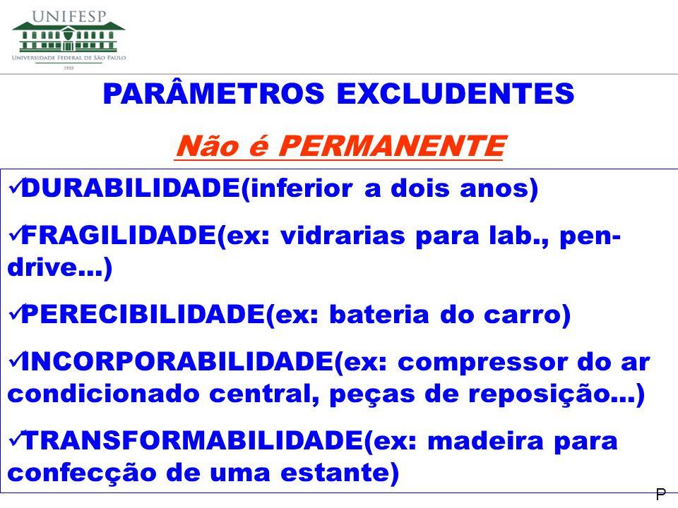 Reitoria Secretaria de Planejamento PARÂMETROS EXCLUDENTES Não é PERMANENTE DURABILIDADE(inferior a dois anos) FRAGILIDADE(ex: vidrarias para lab., pe