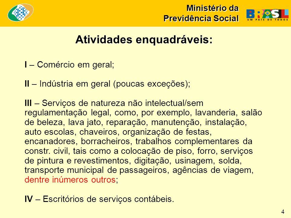 Ministério da Previdência Social I – Comércio em geral; II – Indústria em geral (poucas exceções); III – Serviços de natureza não intelectual/sem regu