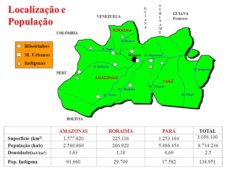 Localização e População AMAZONASRORAIMAPARÁTOTAL 3.056.100 Superfície (km 2) 1.577.820225.1161.253.164 População (hab)2.580.860266.9225.886.454 8.734.236 Densidade( hab/km 2 ) 1,631,184,69 2,5 Pop.