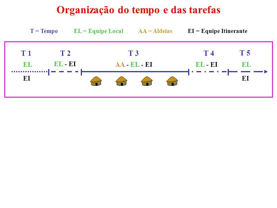 Organização do tempo e das tarefas T = Tempo EL = Equipe Local AA = Aldeias EI = Equipe Itinerante T 1 T 2 T 3T 4 T 5 EL EI EL - EI AA - EL - EIEL EI EL - EI