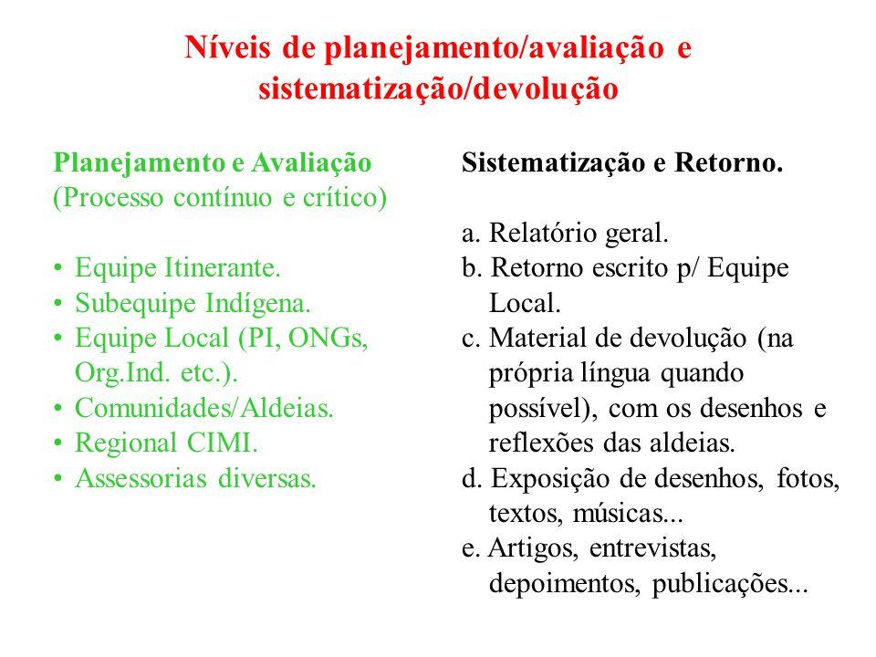 Níveis de planejamento/avaliação e sistematização/devolução Planejamento e Avaliação (Processo contínuo e crítico) Equipe Itinerante.