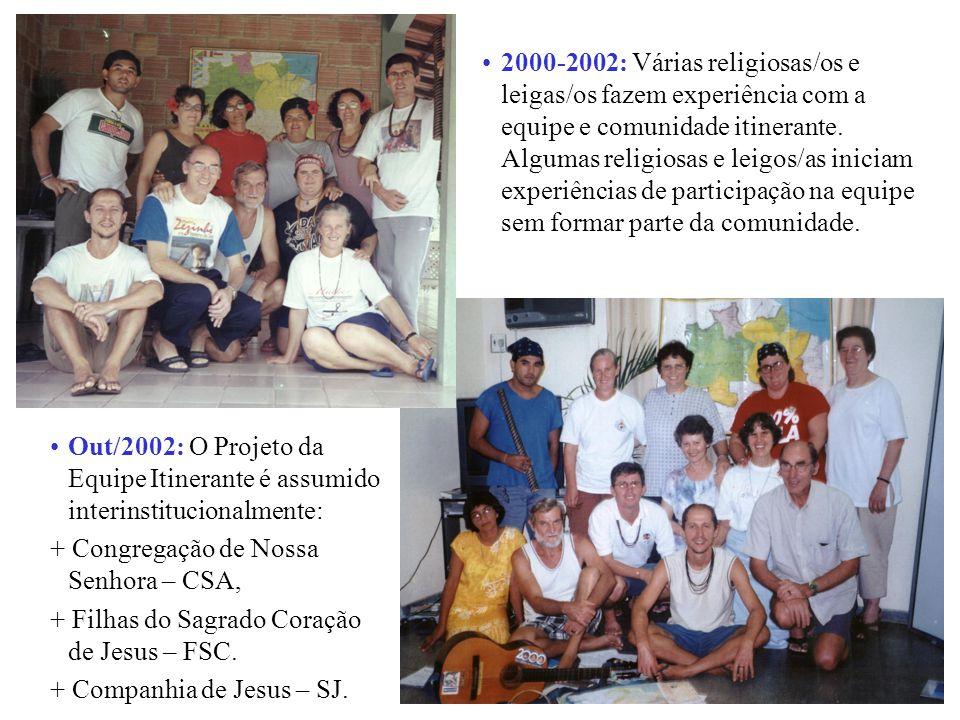 Out/2002: O Projeto da Equipe Itinerante é assumido interinstitucionalmente: + Congregação de Nossa Senhora – CSA, + Filhas do Sagrado Coração de Jesus – FSC.