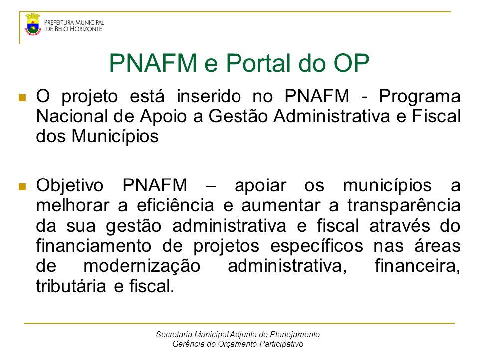 PNAFM e Portal do OP O projeto está inserido no PNAFM - Programa Nacional de Apoio a Gestão Administrativa e Fiscal dos Municípios Objetivo PNAFM – ap