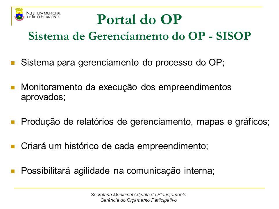 Portal do OP Sistema de Gerenciamento do OP - SISOP Sistema para gerenciamento do processo do OP; Monitoramento da execução dos empreendimentos aprova
