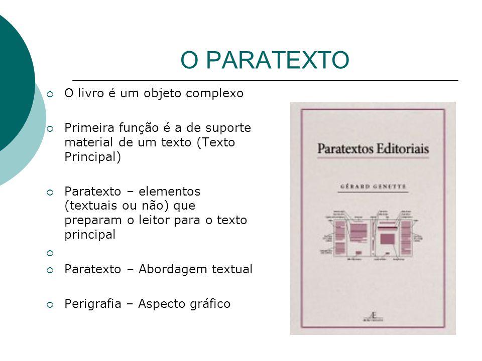 O PARATEXTO  O livro é um objeto complexo  Primeira função é a de suporte material de um texto (Texto Principal)  Paratexto – elementos (textuais o