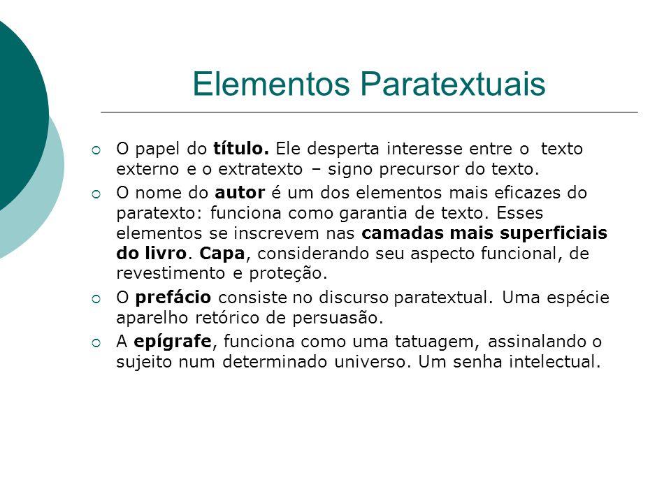 Elementos Paratextuais  O papel do título. Ele desperta interesse entre o texto externo e o extratexto – signo precursor do texto.  O nome do autor