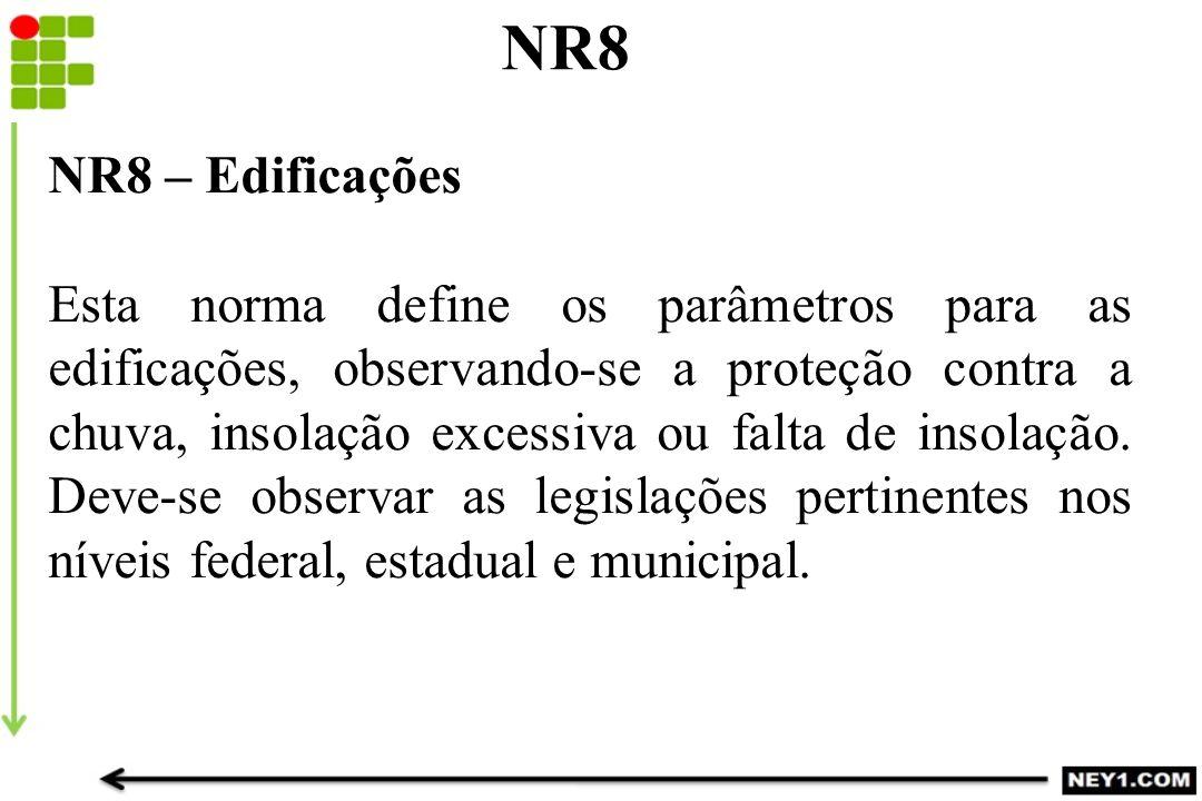 NR8 NR8 – Edificações Esta norma define os parâmetros para as edificações, observando-se a proteção contra a chuva, insolação excessiva ou falta de in
