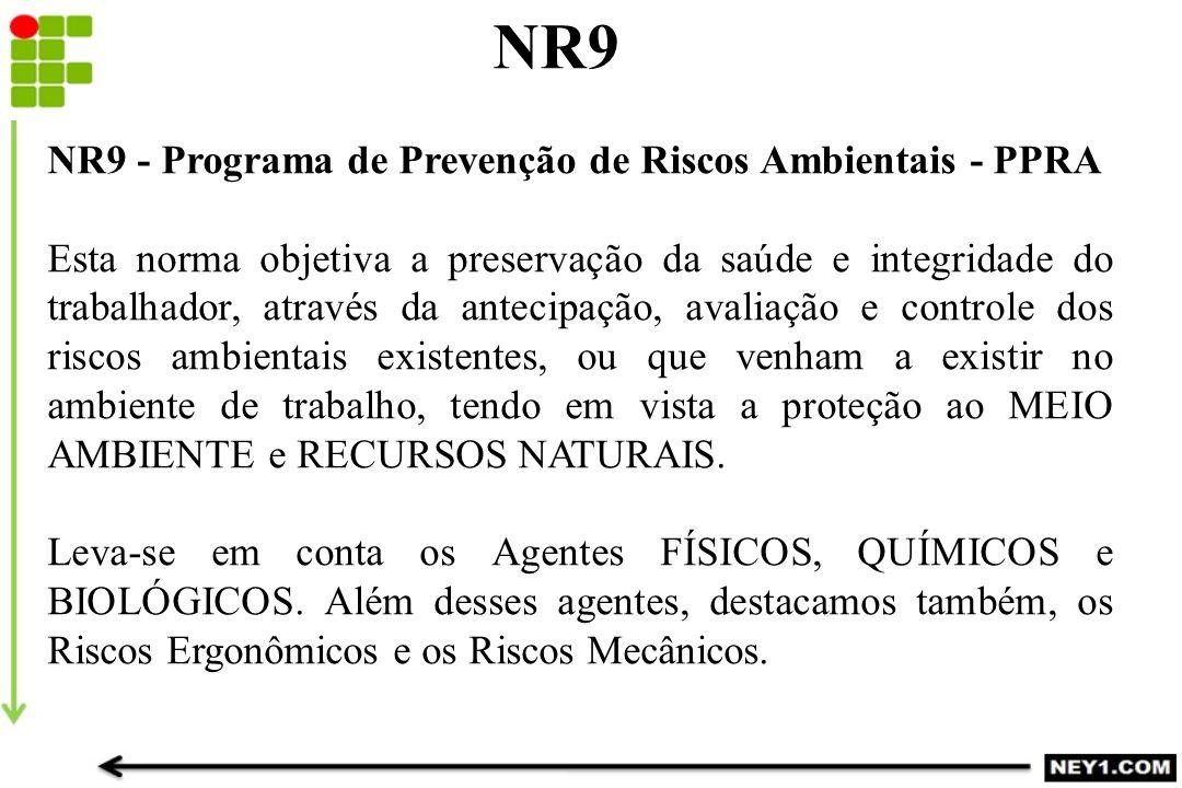 NR9 NR9 - Programa de Prevenção de Riscos Ambientais - PPRA Esta norma objetiva a preservação da saúde e integridade do trabalhador, através da anteci