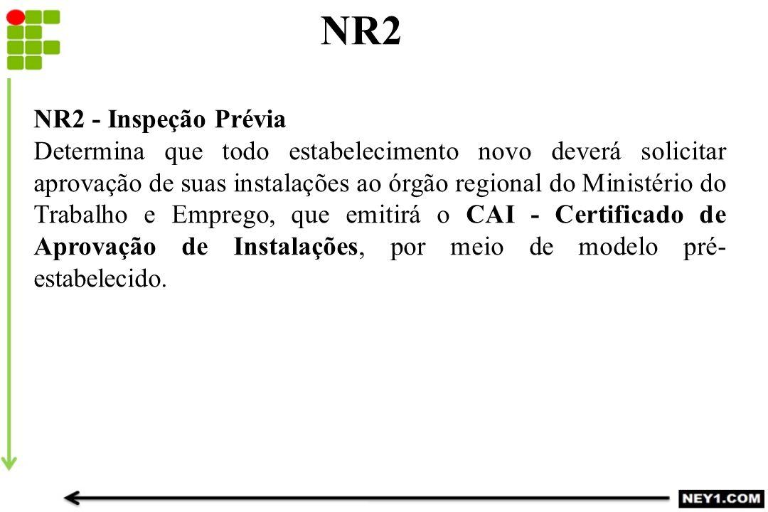NR2 NR2 - Inspeção Prévia Determina que todo estabelecimento novo deverá solicitar aprovação de suas instalações ao órgão regional do Ministério do Tr