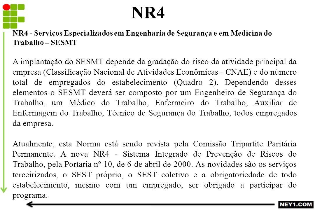 NR4 NR4 - Serviços Especializados em Engenharia de Segurança e em Medicina do Trabalho – SESMT A implantação do SESMT depende da gradação do risco da