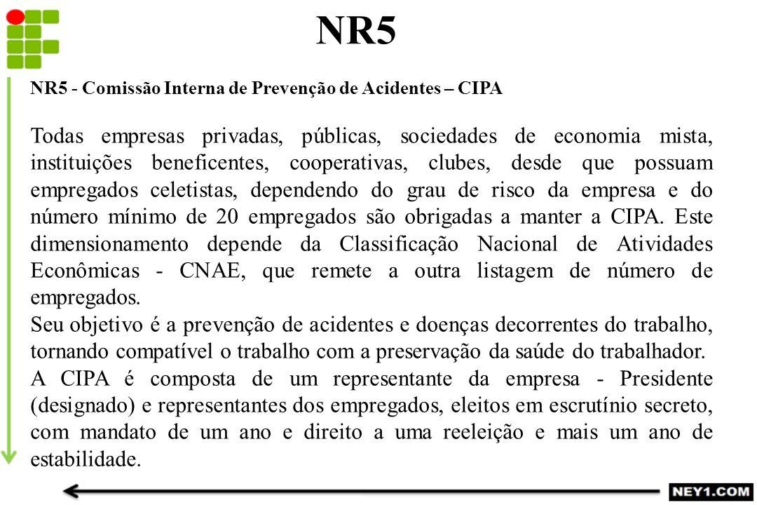 NR5 NR5 - Comissão Interna de Prevenção de Acidentes – CIPA Todas empresas privadas, públicas, sociedades de economia mista, instituições beneficentes