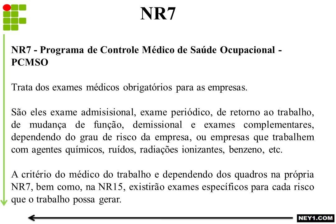 NR7 NR7 - Programa de Controle Médico de Saúde Ocupacional - PCMSO Trata dos exames médicos obrigatórios para as empresas. São eles exame admisisional