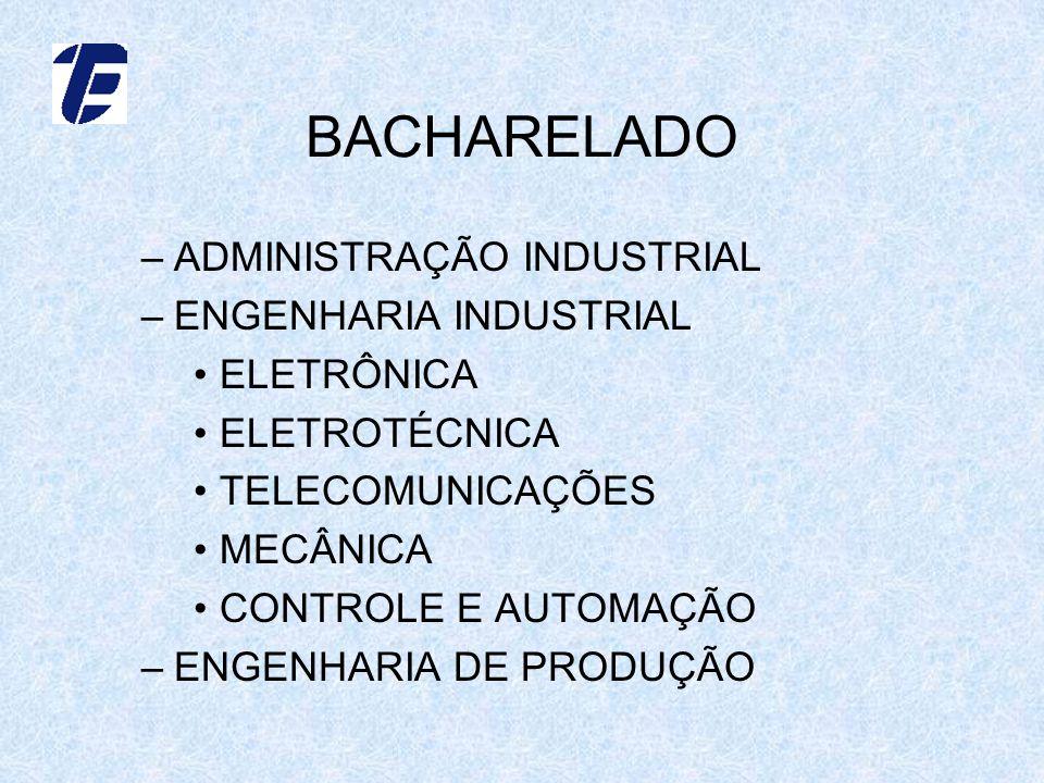 BACHARELADO –ADMINISTRAÇÃO INDUSTRIAL –ENGENHARIA INDUSTRIAL ELETRÔNICA ELETROTÉCNICA TELECOMUNICAÇÕES MECÂNICA CONTROLE E AUTOMAÇÃO –ENGENHARIA DE PRODUÇÃO