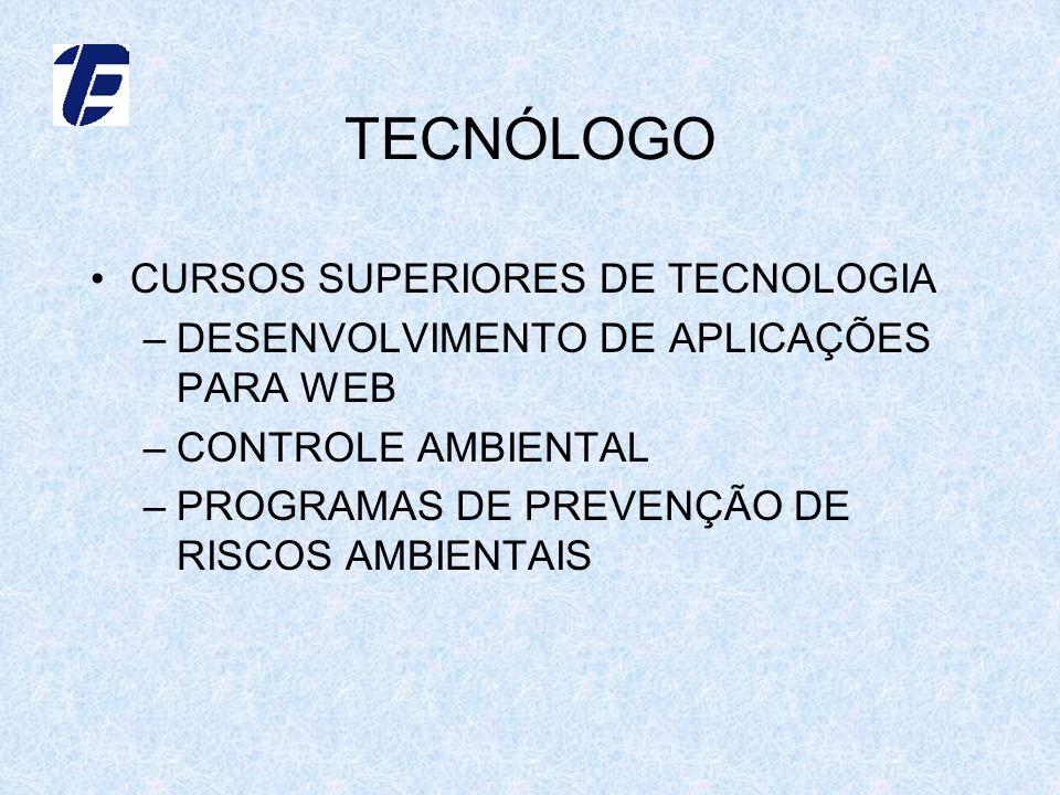 TECNÓLOGO CURSOS SUPERIORES DE TECNOLOGIA –DESENVOLVIMENTO DE APLICAÇÕES PARA WEB –CONTROLE AMBIENTAL –PROGRAMAS DE PREVENÇÃO DE RISCOS AMBIENTAIS