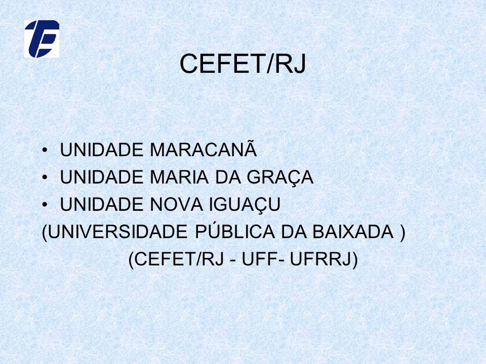 CEFET/RJ UNIDADE MARACANÃ UNIDADE MARIA DA GRAÇA UNIDADE NOVA IGUAÇU (UNIVERSIDADE PÚBLICA DA BAIXADA ) (CEFET/RJ - UFF- UFRRJ)