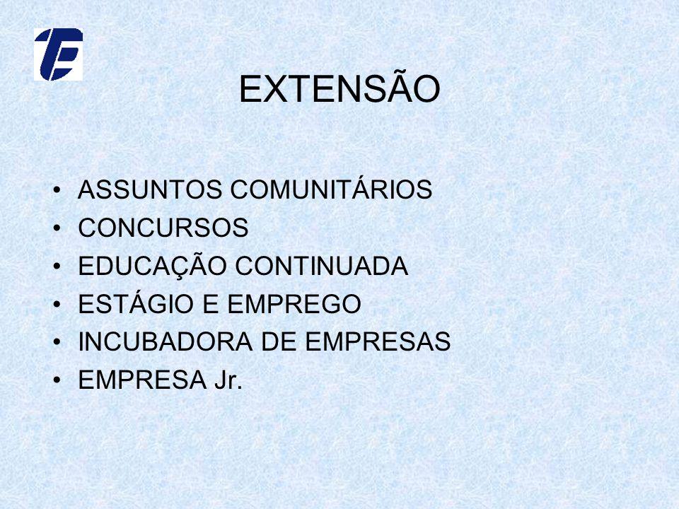 EXTENSÃO ASSUNTOS COMUNITÁRIOS CONCURSOS EDUCAÇÃO CONTINUADA ESTÁGIO E EMPREGO INCUBADORA DE EMPRESAS EMPRESA Jr.