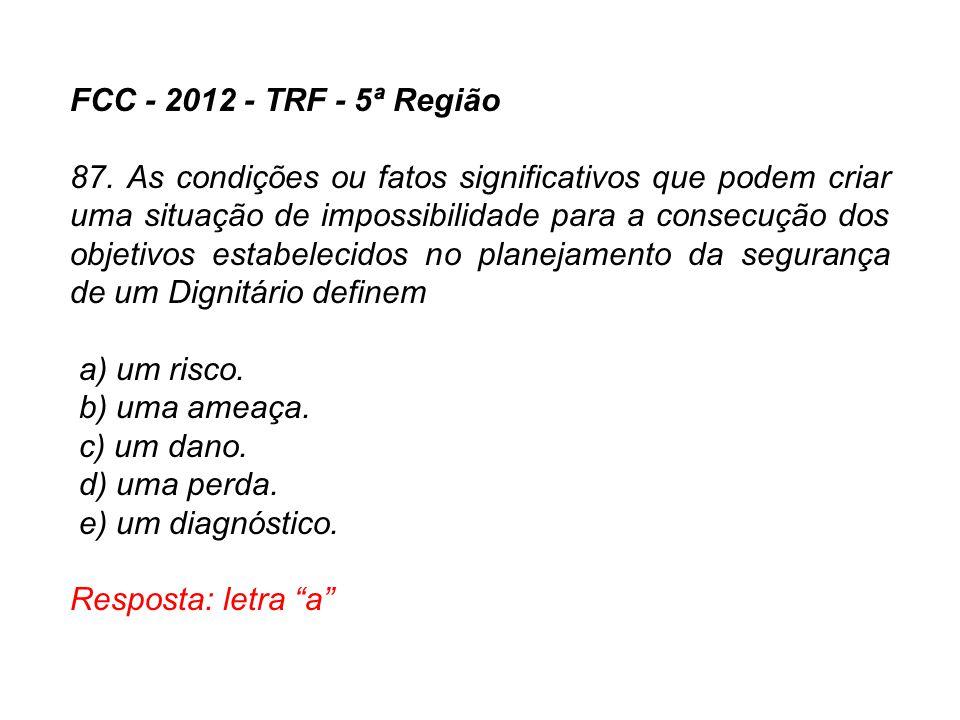 FCC - 2012 - TRF - 5ª Região 87. As condições ou fatos significativos que podem criar uma situação de impossibilidade para a consecução dos objetivos