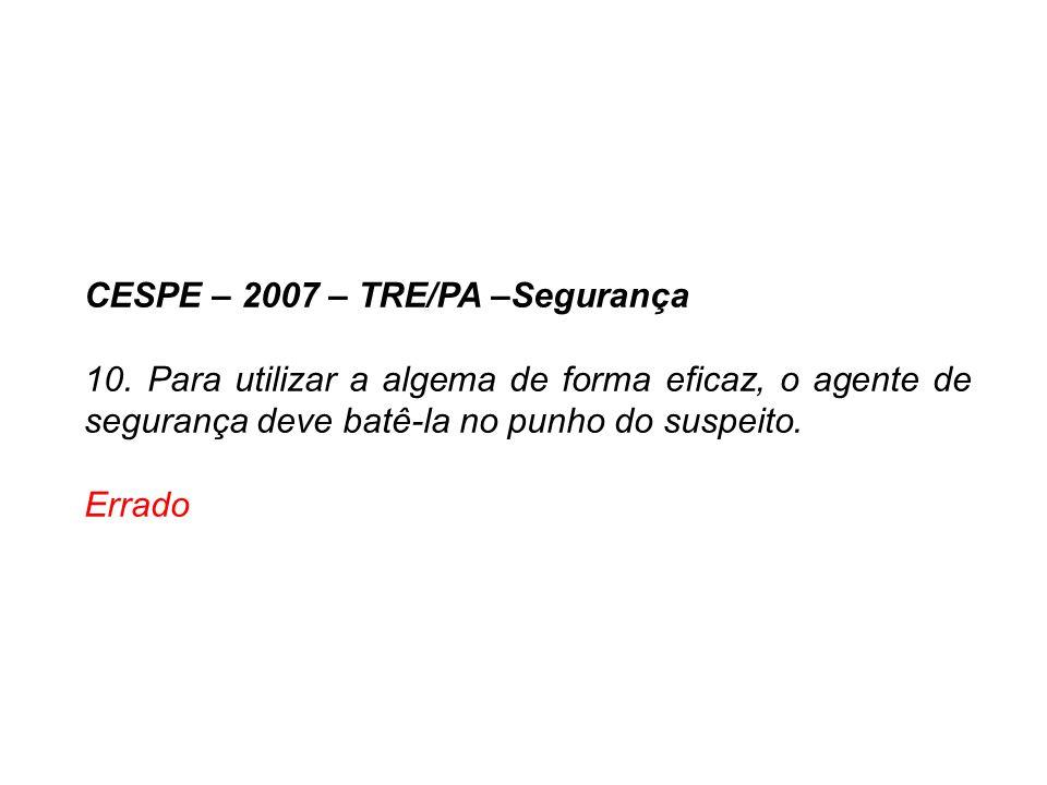 CESPE – 2007 – TRE/PA –Segurança 10. Para utilizar a algema de forma eficaz, o agente de segurança deve batê-la no punho do suspeito. Errado
