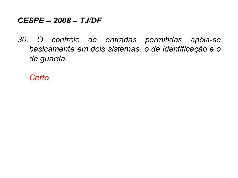 CESPE – 2008 – TJ/DF 30. O controle de entradas permitidas apóia-se basicamente em dois sistemas: o de identificação e o de guarda. Certo