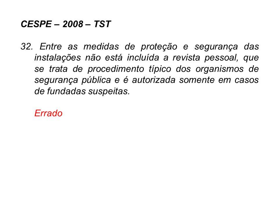 CESPE – 2008 – TST 32. Entre as medidas de proteção e segurança das instalações não está incluída a revista pessoal, que se trata de procedimento típi