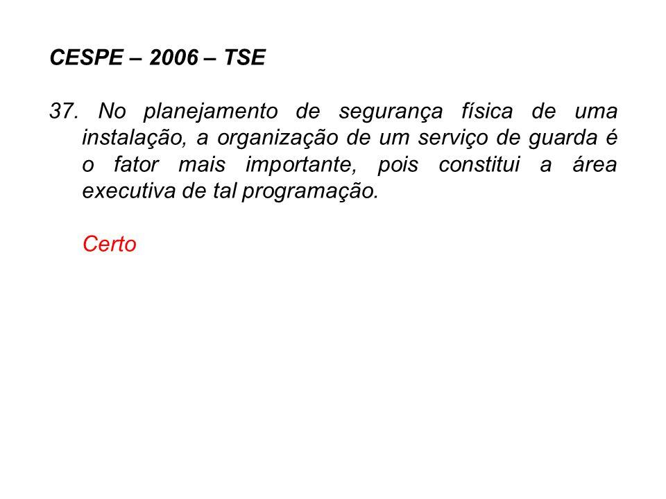 CESPE – 2006 – TSE 37. No planejamento de segurança física de uma instalação, a organização de um serviço de guarda é o fator mais importante, pois co