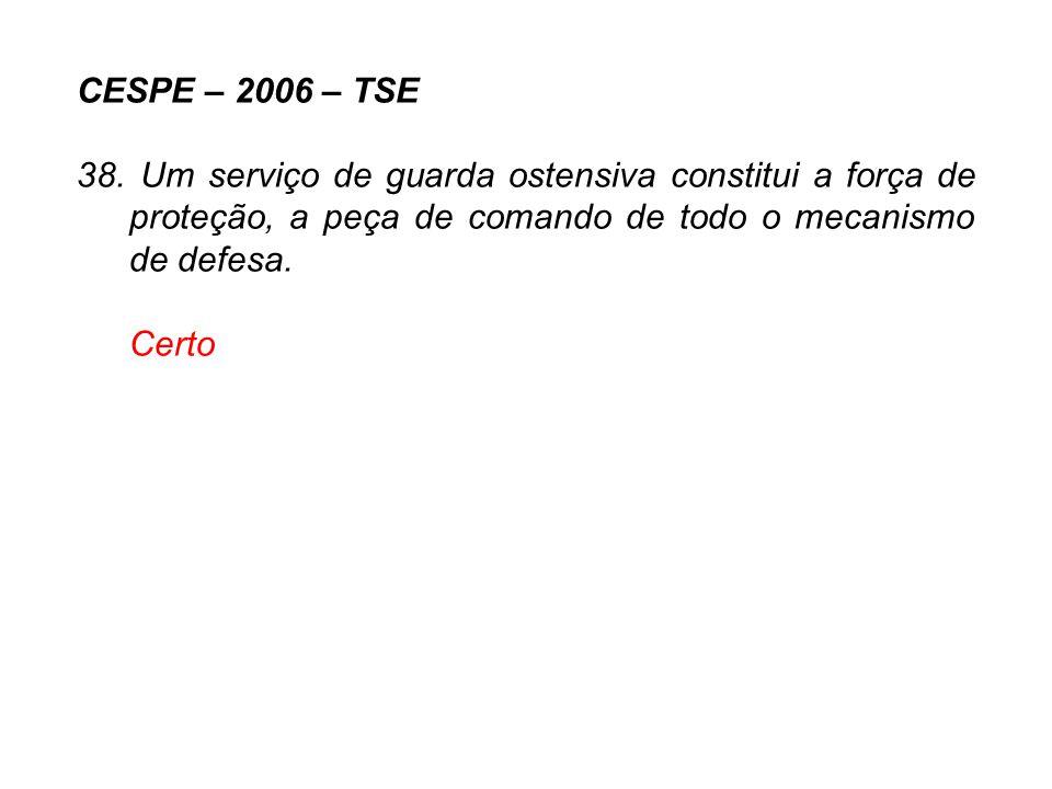 CESPE – 2006 – TSE 38. Um serviço de guarda ostensiva constitui a força de proteção, a peça de comando de todo o mecanismo de defesa. Certo