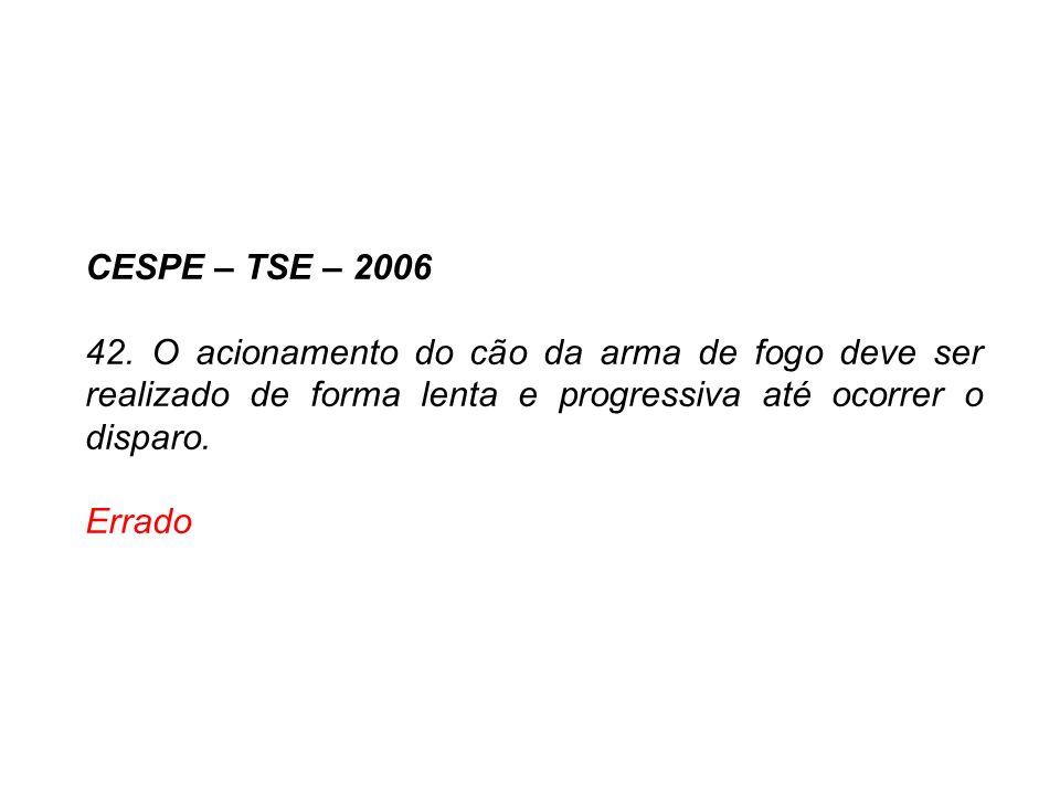 CESPE – TSE – 2006 42. O acionamento do cão da arma de fogo deve ser realizado de forma lenta e progressiva até ocorrer o disparo. Errado