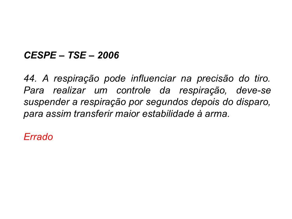 CESPE – TSE – 2006 44. A respiração pode influenciar na precisão do tiro. Para realizar um controle da respiração, deve-se suspender a respiração por