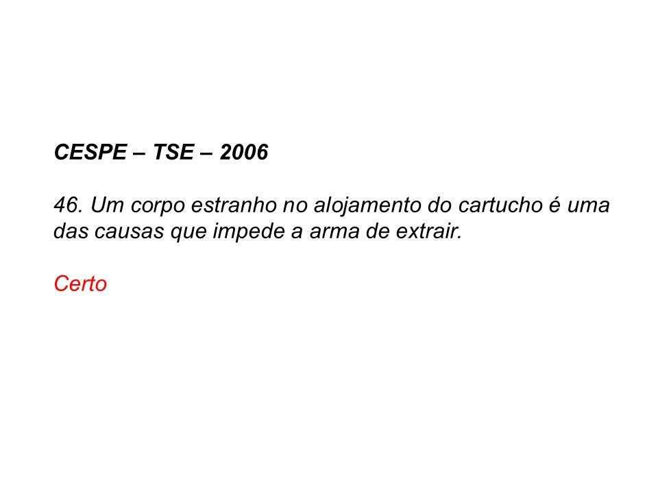 CESPE – TSE – 2006 46. Um corpo estranho no alojamento do cartucho é uma das causas que impede a arma de extrair. Certo