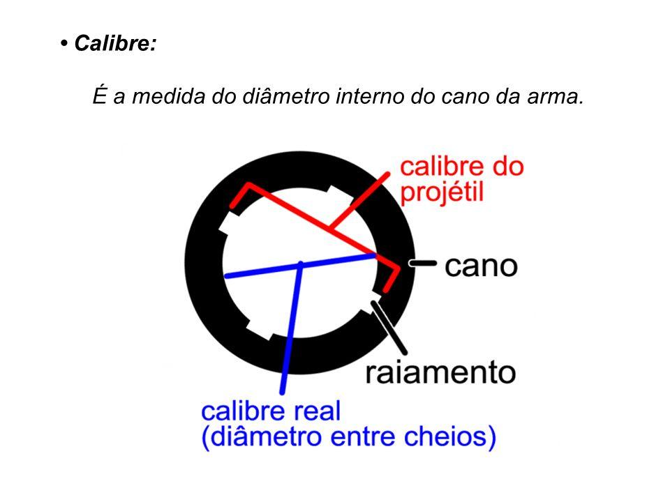 Calibre: É a medida do diâmetro interno do cano da arma.