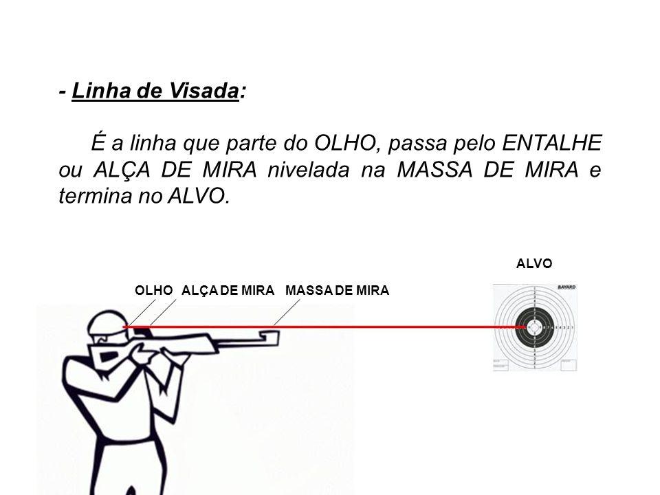 - Linha de Visada: É a linha que parte do OLHO, passa pelo ENTALHE ou ALÇA DE MIRA nivelada na MASSA DE MIRA e termina no ALVO. ALVO OLHO ALÇA DE MIRA