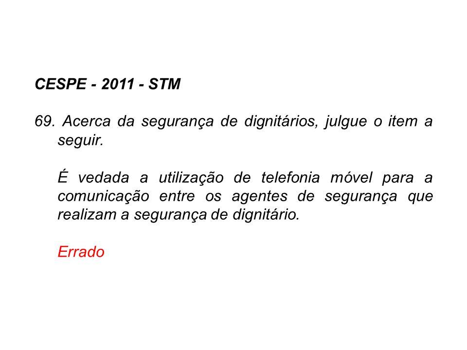 CESPE - 2011 - STM 69. Acerca da segurança de dignitários, julgue o item a seguir. É vedada a utilização de telefonia móvel para a comunicação entre o