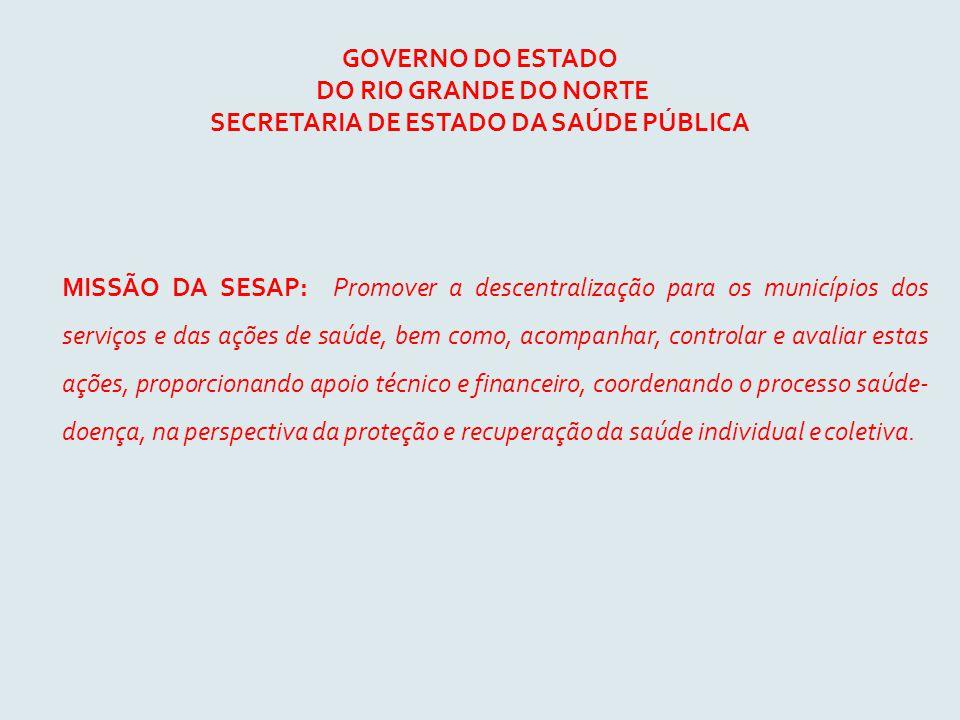 GOVERNO DO ESTADO DO RIO GRANDE DO NORTE SECRETARIA DE ESTADO DA SAÚDE PÚBLICA MISSÃO DA SESAP: Promover a descentralização para os municípios dos ser