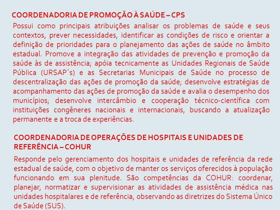 COORDENADORIA DE PROMOÇÃO À SAÚDE – CPS Possui como principais atribuições analisar os problemas de saúde e seus contextos, prever necessidades, ident