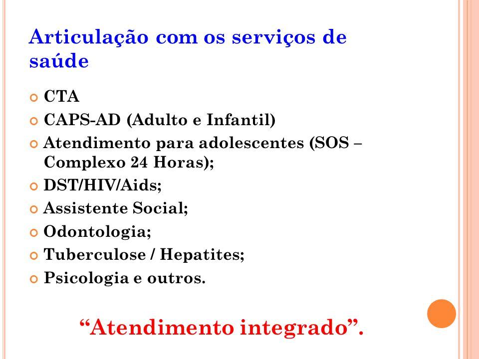 Articulação com os serviços de saúde CTA CAPS-AD (Adulto e Infantil) Atendimento para adolescentes (SOS – Complexo 24 Horas); DST/HIV/Aids; Assistente