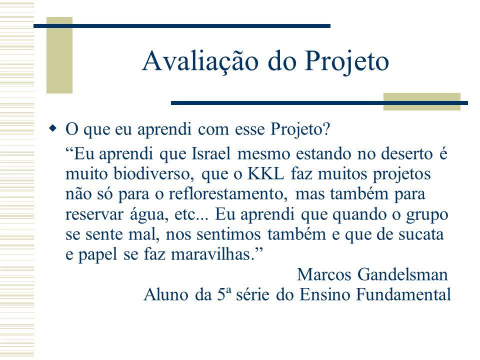 Avaliação do Projeto  O que eu aprendi com esse Projeto.