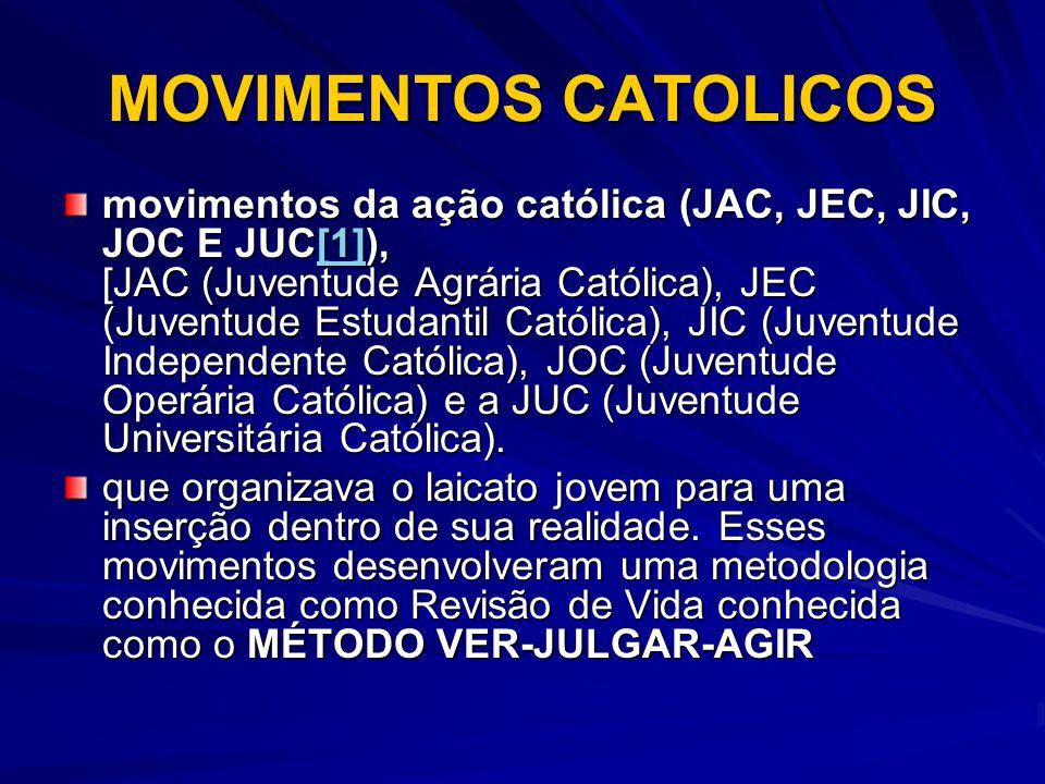MOVIMENTOS CATOLICOS movimentos da ação católica (JAC, JEC, JIC, JOC E JUC[1]), [JAC (Juventude Agrária Católica), JEC (Juventude Estudantil Católica)