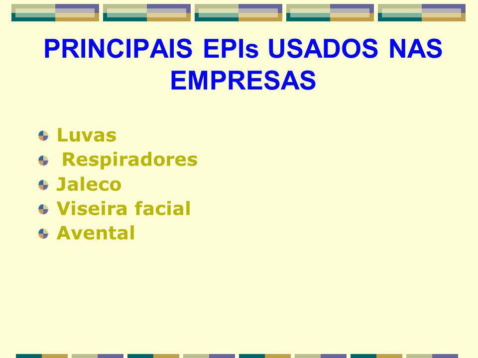 Luvas Respiradores Jaleco Viseira facial Avental PRINCIPAIS EPIs USADOS NAS EMPRESAS