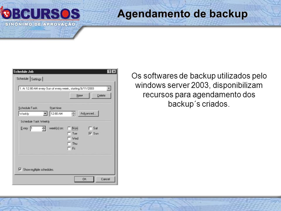 Os softwares de backup utilizados pelo windows server 2003, disponibilizam recursos para agendamento dos backup´s criados.