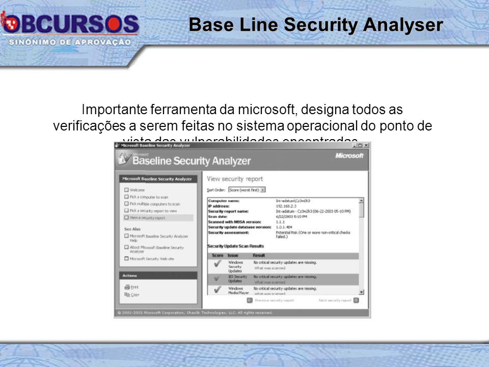 Importante ferramenta da microsoft, designa todos as verificações a serem feitas no sistema operacional do ponto de vista das vulnerabilidades encontradas.