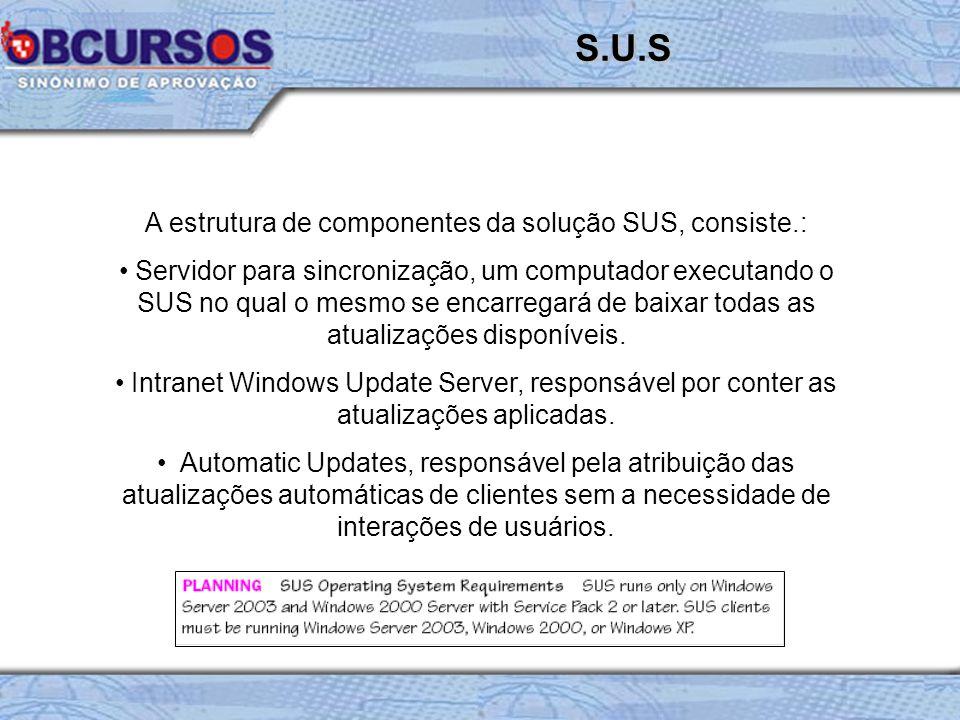 A estrutura de componentes da solução SUS, consiste.: Servidor para sincronização, um computador executando o SUS no qual o mesmo se encarregará de baixar todas as atualizações disponíveis.