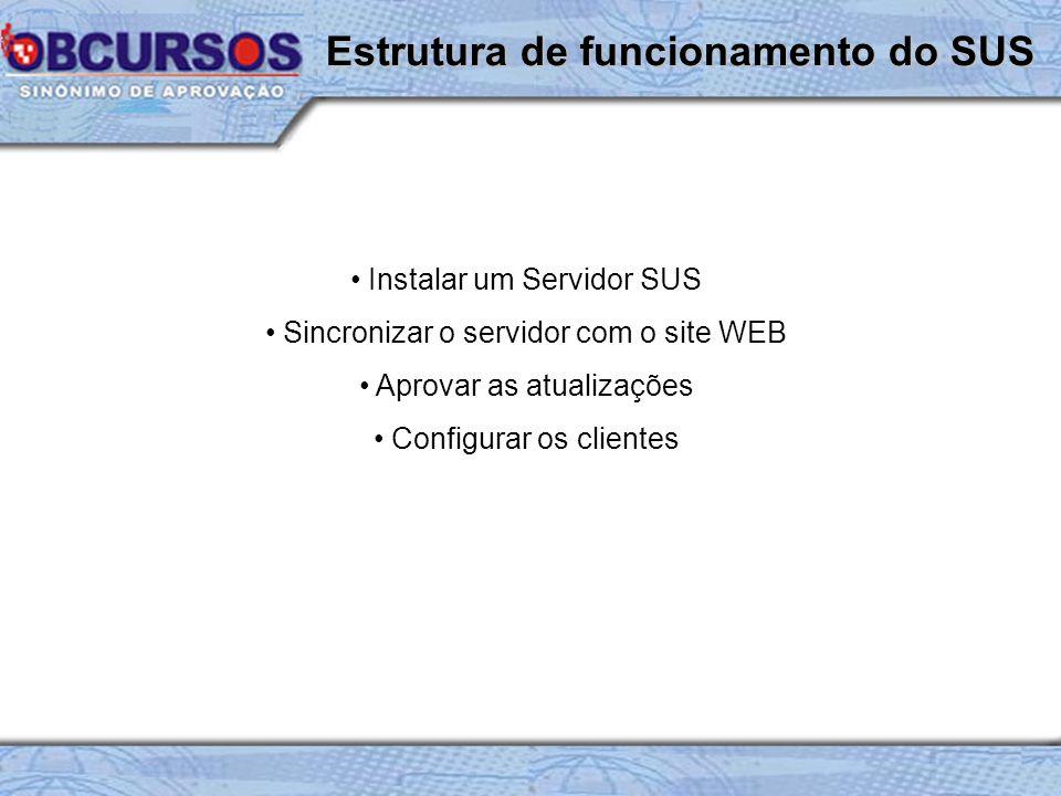 Instalar um Servidor SUS Sincronizar o servidor com o site WEB Aprovar as atualizações Configurar os clientes Estrutura de funcionamento do SUS
