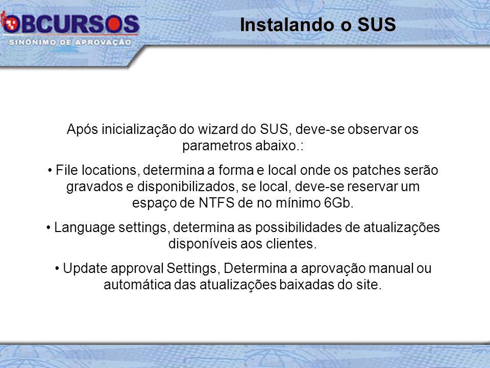 Após inicialização do wizard do SUS, deve-se observar os parametros abaixo.: File locations, determina a forma e local onde os patches serão gravados e disponibilizados, se local, deve-se reservar um espaço de NTFS de no mínimo 6Gb.