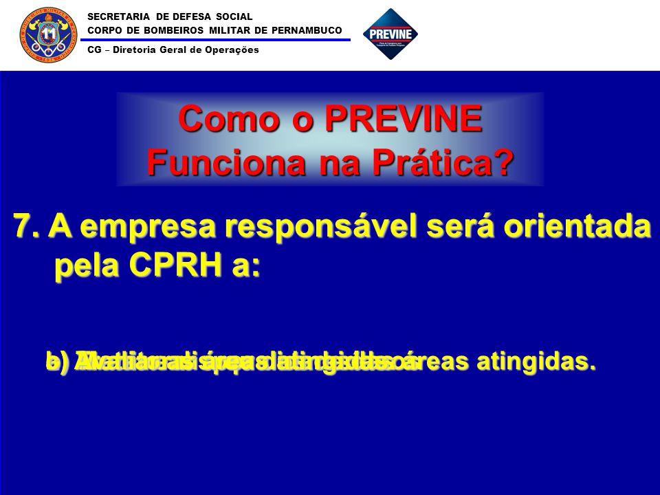 SECRETARIA DE DEFESA SOCIAL CORPO DE BOMBEIROS MILITAR DE PERNAMBUCO CG – Diretoria Geral de Operações 11 Como o PREVINE Funciona na Prática? 7. A emp
