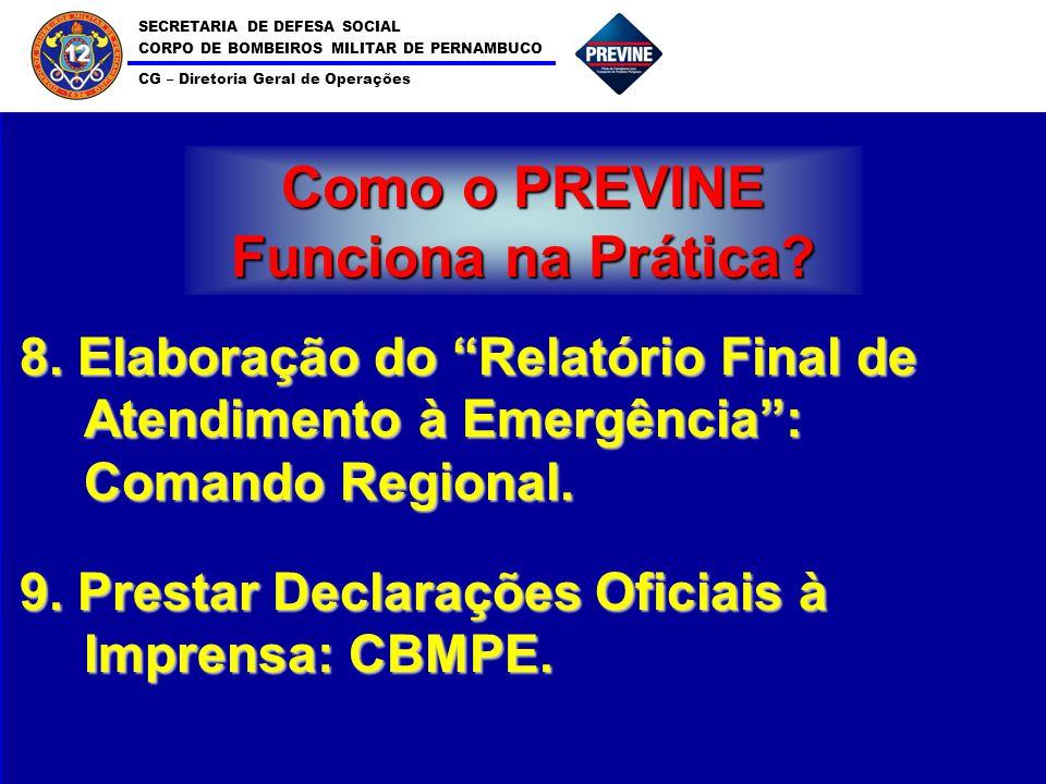 SECRETARIA DE DEFESA SOCIAL CORPO DE BOMBEIROS MILITAR DE PERNAMBUCO CG – Diretoria Geral de Operações 12 Como o PREVINE Funciona na Prática? 8. Elabo