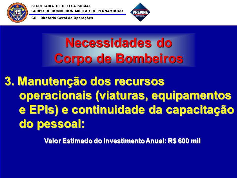 SECRETARIA DE DEFESA SOCIAL CORPO DE BOMBEIROS MILITAR DE PERNAMBUCO CG – Diretoria Geral de Operações 15 Necessidades do Corpo de Bombeiros 3. Manute