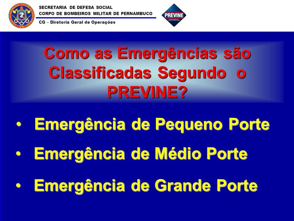 SECRETARIA DE DEFESA SOCIAL CORPO DE BOMBEIROS MILITAR DE PERNAMBUCO CG – Diretoria Geral de Operações 2 Como as Emergências são Classificadas Segundo o PREVINE.